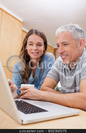 Portrait of a couple using a laptop while having coffee stock photo, Portrait of a couple using a laptop while having coffee in their kitchen by Wavebreak Media