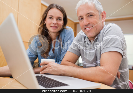 Couple using a laptop while having tea stock photo, Couple using a laptop while having tea in their kitchen by Wavebreak Media