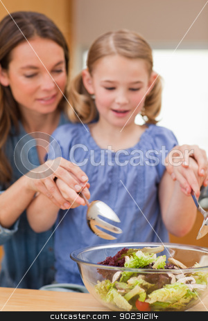 Portrait of a woman preparing a salad with her daughter stock photo, Portrait of a woman preparing a salad with her daughter in a kitchen by Wavebreak Media
