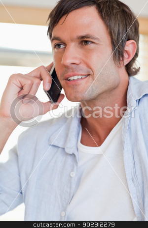 Portrait of a good looking man making a phone call stock photo, Portrait of a good looking man making a phone call in his kitchen by Wavebreak Media