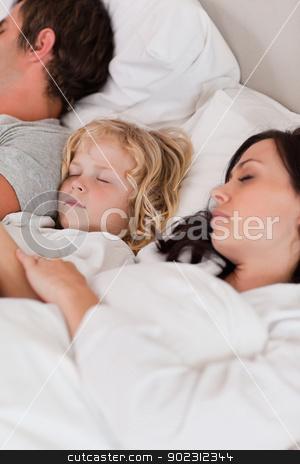 Portrait of a boy sleeping between his parents stock photo, Portrait of a boy sleeping between his parents in a bedroom by Wavebreak Media