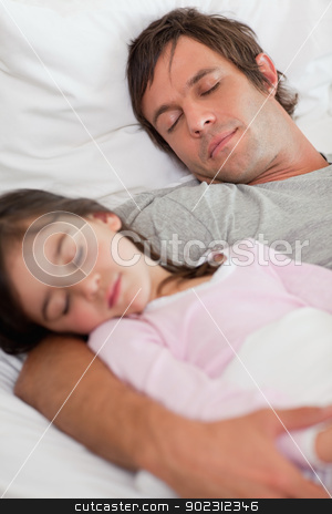 Portrait of a calm father sleeping with his daughter stock photo, Portrait of a calm father sleeping with his daughter in a bedroom by Wavebreak Media