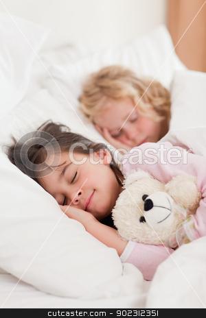 Portrait of siblings sleeping stock photo, Portrait of siblings sleeping in a bedroom by Wavebreak Media