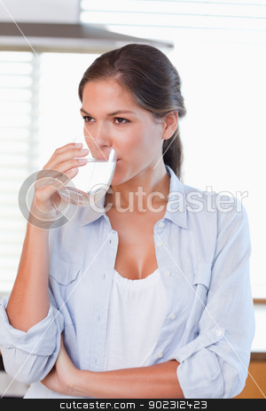Portrait of a woman drinking a glass of water stock photo, Portrait of a woman drinking a glass of water in her kitchen by Wavebreak Media