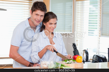Married couple cooking stock photo, Married couple cooking in their kitchen by Wavebreak Media