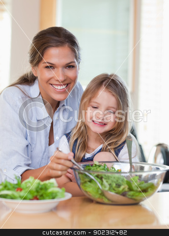 Portrait of a young mother and her daughter preparing a salad stock photo, Portrait of a young mother and her daughter preparing a salad in their kitchen by Wavebreak Media