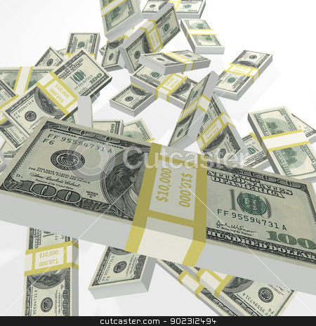 Falling Money stock photo, This 3D rendered image of falling bundles of one hundred dollar bills may be used with a variety of business or financial subjects. by John Lutheran