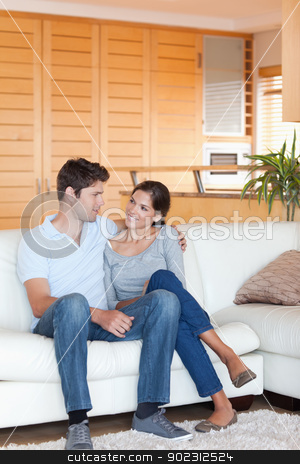 Portrait of a couple sitting on a sofa stock photo, Portrait of a couple sitting on a sofa while looking at each other by Wavebreak Media