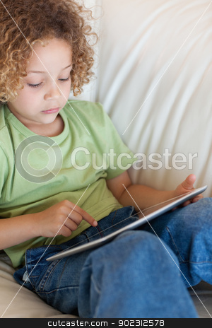 Portrait of a cute boy using a tablet computer stock photo, Portrait of a cute boy using a tablet computer in a living room by Wavebreak Media