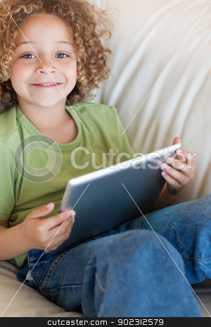 Portrait of a boy using a tablet computer stock photo, Portrait of a boy using a tablet computer in a living room by Wavebreak Media