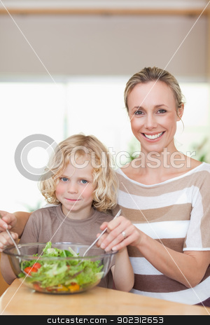 Smiling mother and son stirring salad stock photo, Smiling mother and son stirring salad together by Wavebreak Media