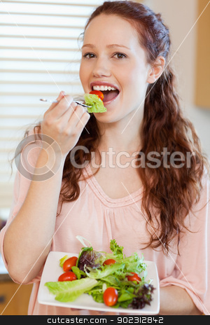 Girl having salad stock photo, Girl having some salad by Wavebreak Media