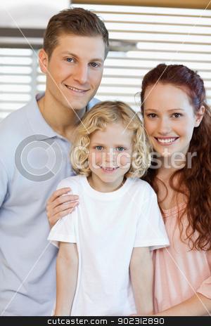 Smiling family standing in the kitchen stock photo, Smiling family standing in the kitchen together by Wavebreak Media