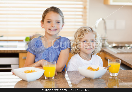 Siblings with breakfast behind the kitchen counter stock photo, Smiling siblings with breakfast behind the kitchen counter by Wavebreak Media