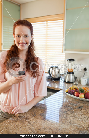 Woman in the kitchen with her cellphone stock photo, Smiling woman in the kitchen with her cellphone by Wavebreak Media