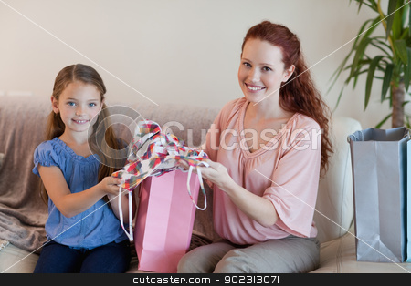 Mother and daughter with shopping stock photo, Mother and daughter with their shopping by Wavebreak Media