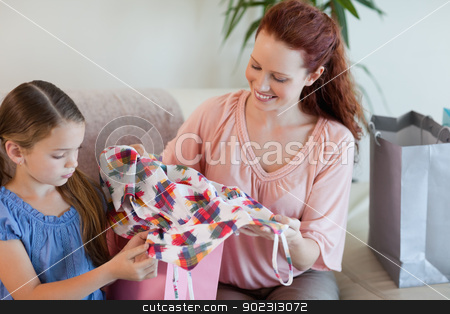 Mother and daughter with shopping on the sofa stock photo, Mother and daughter with their shopping on the sofa by Wavebreak Media