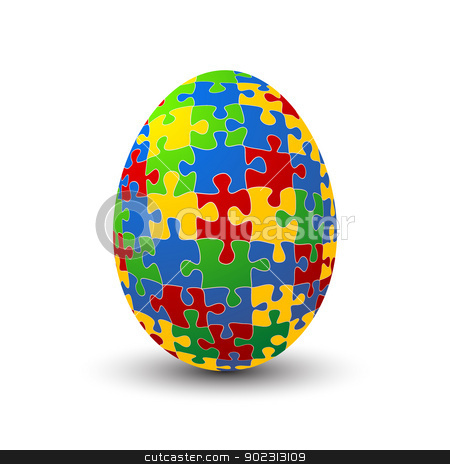 Puzzle egg stock vector clipart, Jigsaw puzzle Easter egg against white background by Richard Laschon