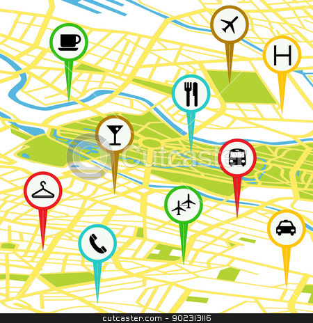 GPS icons stock vector clipart, Gps icon set over a generic map by Richard Laschon