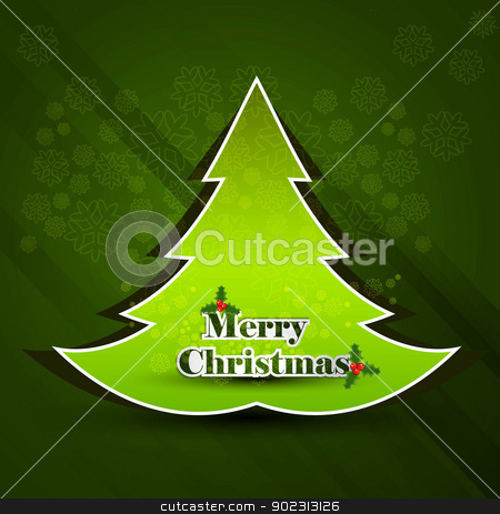 Merry Christmas green tree background card vector stock vector clipart, Merry Christmas green tree background card vector by bharat pandey
