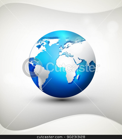 Shiny Globe icon blue colorful shadows and white map vector illu stock vector clipart, Shiny Globe icon blue colorful shadows and white map vector illustration by bharat pandey