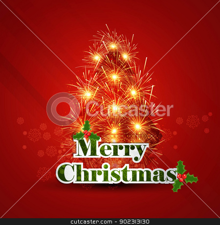 Merry Christmas red tree background card vector stock vector clipart, Merry Christmas red tree background card vector by bharat pandey