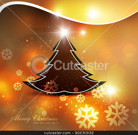 Merry Christmas bright colorful tree background card design stock vector clipart, Merry Christmas bright colorful tree background card design by bharat pandey