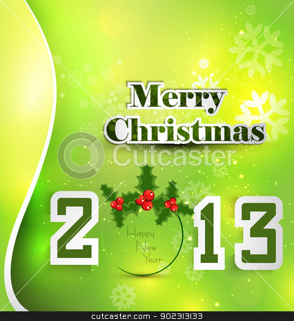 New year stylish 2013 merry christmas background green colorful  stock vector clipart, New year stylish 2013 merry christmas background green colorful card vector by bharat pandey