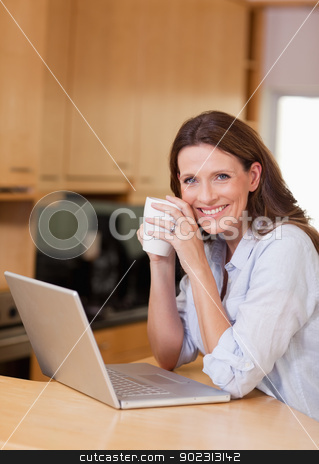 Woman with cup next to laptop stock photo, Smiling woman with cup next to laptop by Wavebreak Media