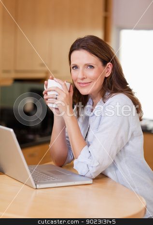Woman with laptop and a cup stock photo, Woman with laptop and a cup in the kitchen by Wavebreak Media