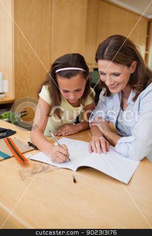 Girl getting help with homework stock photo, Girl getting help with her homework by Wavebreak Media