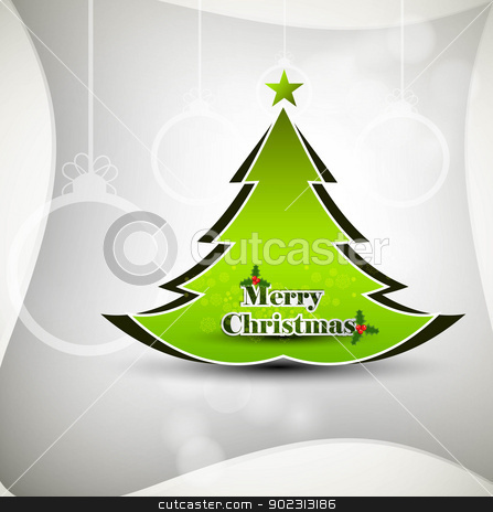 Merry Christmas green tree whit background card vector stock vector clipart, Merry Christmas green tree whit background card vector by bharat pandey