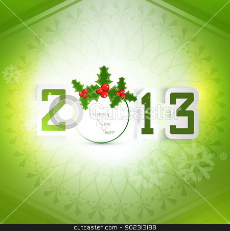 New year stylish 2013 green colorful fantastic vector  stock vector clipart, New year stylish 2013 green colorful fantastic vector  by bharat pandey