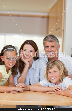 Smiling family behind kitchen table stock photo, Happy smiling family behind kitchen table by Wavebreak Media
