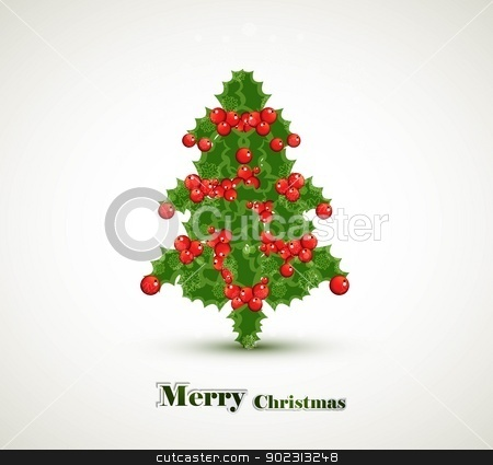 Holly berry merry christmas tree vector whit background stock vector clipart, Holly berry merry christmas tree vector whit background by bharat pandey