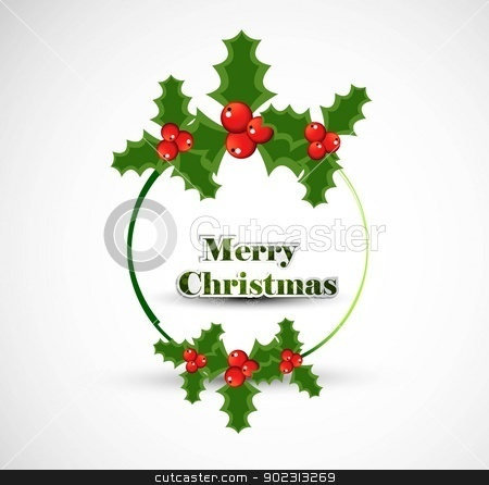 Christmas holly berry circle frame whit vector design stock vector clipart, Christmas holly berry circle frame whit vector design by bharat pandey