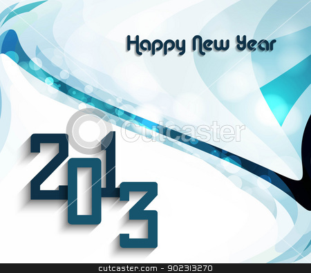 Happy new year 2013 colorful mosaic wave circle vector design stock vector clipart, Happy new year 2013 colorful mosaic wave circle vector design by bharat pandey