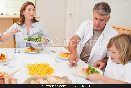 Family about to start dinner stock photo, Family about to start dinner together by Wavebreak Media