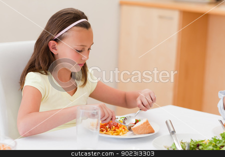 Girl having dinner at the table stock photo, Girl having dinner at the dinner table by Wavebreak Media