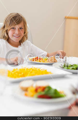 Boy sitting at dinner table stock photo, Boy sitting at the dinner table by Wavebreak Media