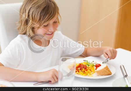 Boy eating dinner stock photo, Boy eating his dinner by Wavebreak Media
