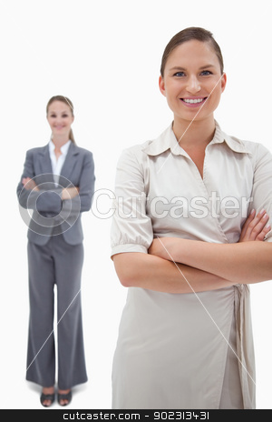 Portrait of smiling businesswomen posing stock photo, Portrait of smiling businesswomen posing against a white background by Wavebreak Media