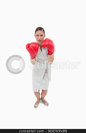 Portrait of a serious businesswoman with boxing gloves stock photo, Portrait of a serious businesswoman with boxing gloves against a white background by Wavebreak Media