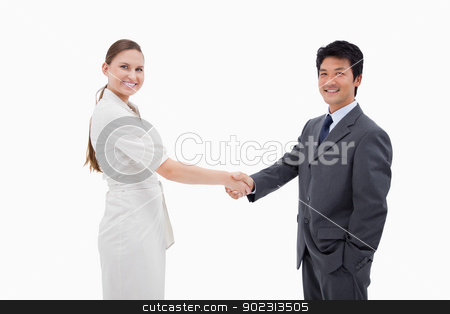 Two business people shaking hands stock photo, Two business people shaking hands against a white background by Wavebreak Media