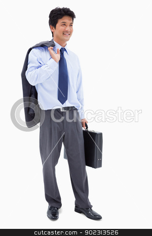 Portrait of a smiling businessman holding a briefcase and his ja stock photo, Portrait of a smiling businessman holding a briefcase and his jacket over his shoulder against a white background by Wavebreak Media