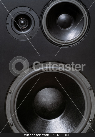 Large studio loudspeaker stock photo, Photo of a large studio loudspeaker including tweeter, mid, and woofer. by © Ron Sumners