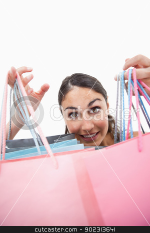 Portrait of a cheerful woman showing shopping bags stock photo, Portrait of a cheerful woman showing shopping bags against white background by Wavebreak Media
