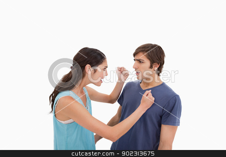 Couple having an argument stock photo, Couple having an argument against a white background by Wavebreak Media