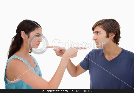Couple mad at each other stock photo, Couple mad at each other against a white background by Wavebreak Media