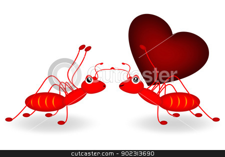 red ant and red heart stock photo, red ant carrying a red heart  by Cherdchoosak Ngernsiam